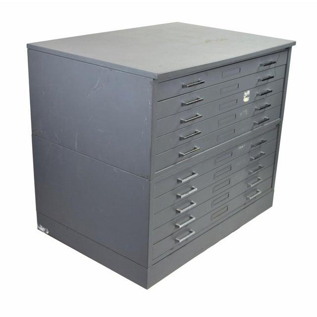 Vintage Mayline Industrial Steel Map Case Flat File Cabinet For Sale - Image 4 of 8
