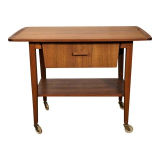 Original Danish Mid Century Teak Sewing Table / Bar Cart - Malling For Sale