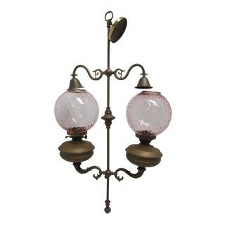 Antique Double Burner Oil Lamp Chandelier, England