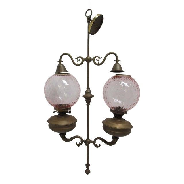 Antique Double Burner Oil Lamp Chandelier, England - Antique Double Burner Oil Lamp Chandelier, England Chairish