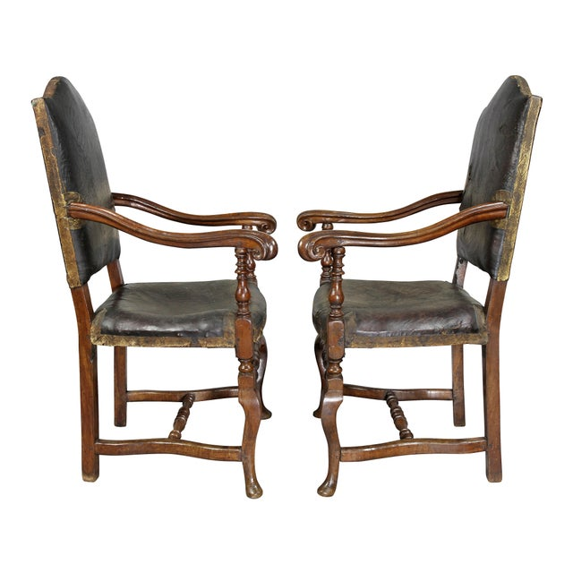 Black Italian Baroque Walnut Armchairs - a Pair For Sale - Image 8 of 11