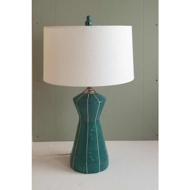Contemporary kRI kRI Studio Teal Blue Ceramic Table Lamp For Sale - Image 3 of 6