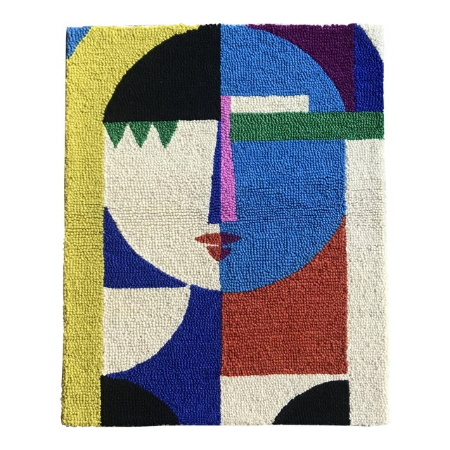 Limited Edition Female Abstract Color Block Rug Wall Hanging Textile For Sale