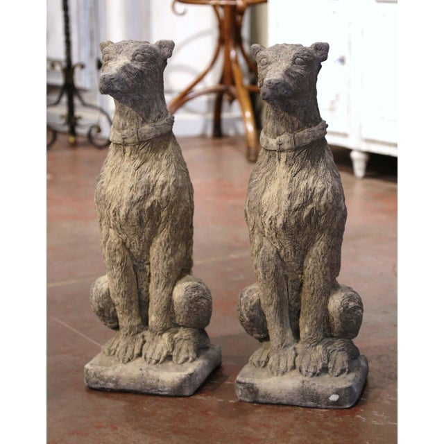 Vintage French Weathered Carved Stone Statuary Scottish Deer Hounds - a Pair For Sale - Image 11 of 11