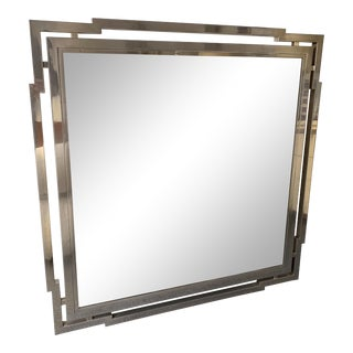 Large Mirror Metal Chrome by Mario Sabot. Italy, 1970s For Sale