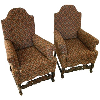 19th Century Jacobean Revival Style Upholstered Armchairs- A Pair For Sale