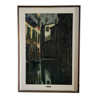 Signed A. Montani Canal and Gondola in Venice Vintage Landscape Oil on Canvas Painting, Framed For Sale