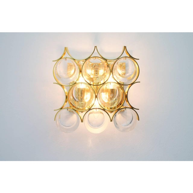 Palwa Palwa Single Wall Sconce, Gilded Brass and Crystal Glass 1960s For Sale - Image 4 of 8
