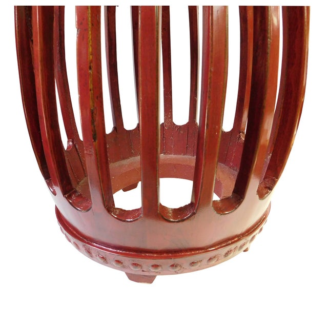 Chinese Red Round Barrel Wood Stools - Pair - Image 5 of 7