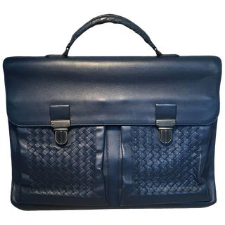Bottega Veneta Navy Blue Leather Briefcase For Sale