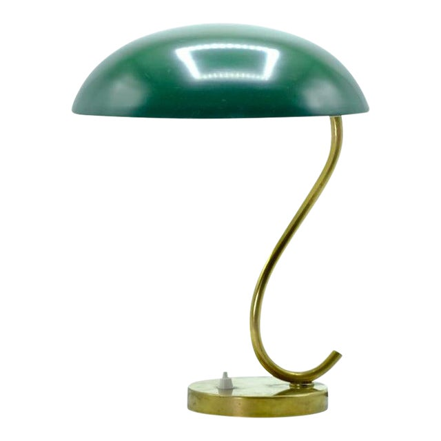 Mid-Century Scandinavian Green With S Curve Desk Lamp For Sale