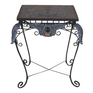 Iron Base W. Embossed Top Occasional Table For Sale