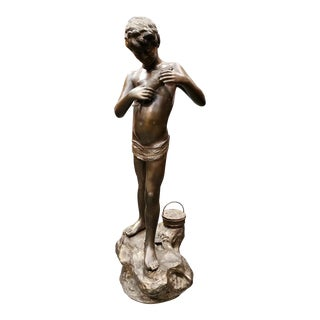 1920s French Art Deco Boy With Fish Gilded Spelter Sculpture on Marble Base For Sale