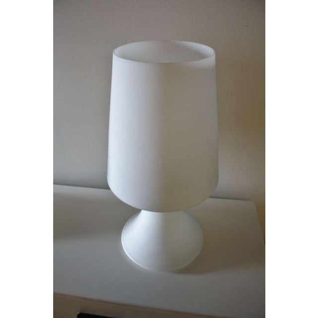 Glass Pair of Italian White Glass Lamps and Shades by Laurel For Sale - Image 7 of 7