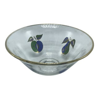 1960s Vintage Mid Century Georges Briard Gold Rimmed Glass Bowl With Fruit For Sale