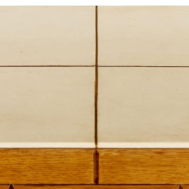 """1940s """"Fireplace"""" Console Table, Oakwood and Parchment, Italy For Sale - Image 9 of 10"""