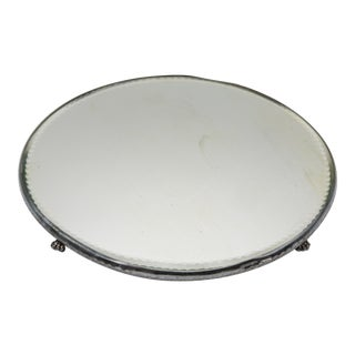 Antique Silver Plate Mirrored Plateau For Sale