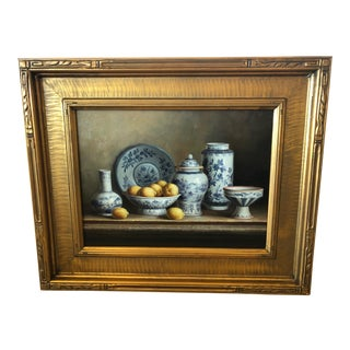 Realistic Blue and White Chinese Export Still Life Painting For Sale