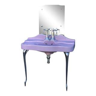 """1920s Vintage Templeton Art Deco """"Standard"""" Pink Sink For Sale"""