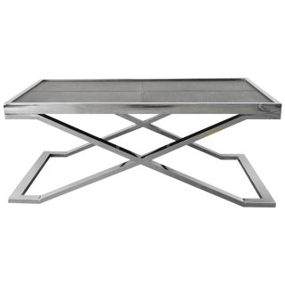 Black Leather and Stainless Steel Coffee Table For Sale