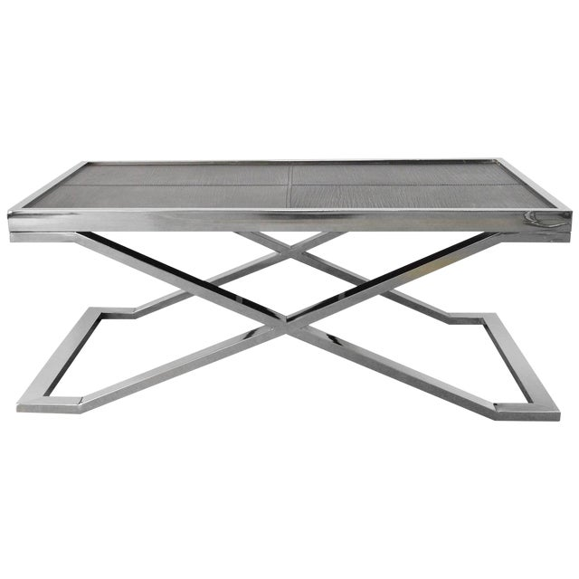 Black Leather and Stainless Steel Coffee Table by Fabio Ltd For Sale
