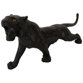 Japanese Patinated Bronze Figure of a Tiger For Sale