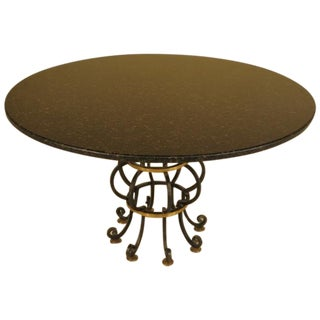 Round Granite Dining Table with Iron Base For Sale