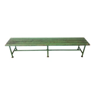 1930s Vintage European Green Bench For Sale