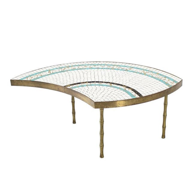 Bronze Three-Part Bronze and Mosaic Round Coffee Table For Sale - Image 7 of 9