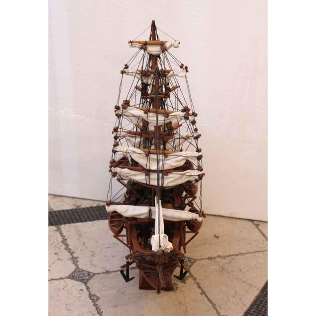 Traditional Traditional Hand Carved Ship Model For Sale - Image 3 of 10