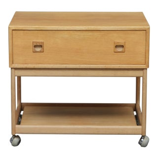 1960s Danish Modern Oak Side Table on Wheels For Sale