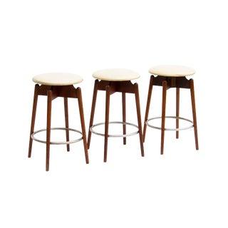Midcentury Swivel Barstools in Walnut, S/3 For Sale