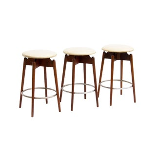 Midcentury Swivel Barstools in Walnut - Set of 3 For Sale
