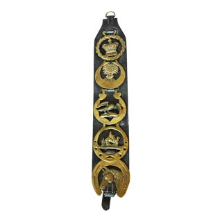 English Black Leather Horse Strap With 5 Horse Brasses For Sale