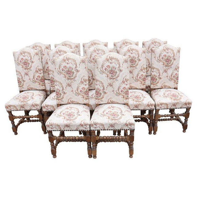 Pink Early 20th Century Louis XIII Style Dining Chairs - Set of 12 For Sale - Image 8 of 8