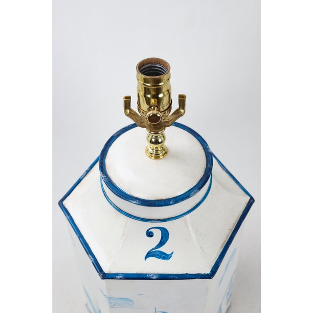 """Vintage hexagonal tole tea caddy with handpainted blue and white pagoda scenery. Labeled """"#2"""". Very similar to Vintage..."""