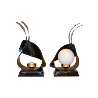 Black Acrylic Sculptural Table Lamps by Acrylic Design - Pair For Sale