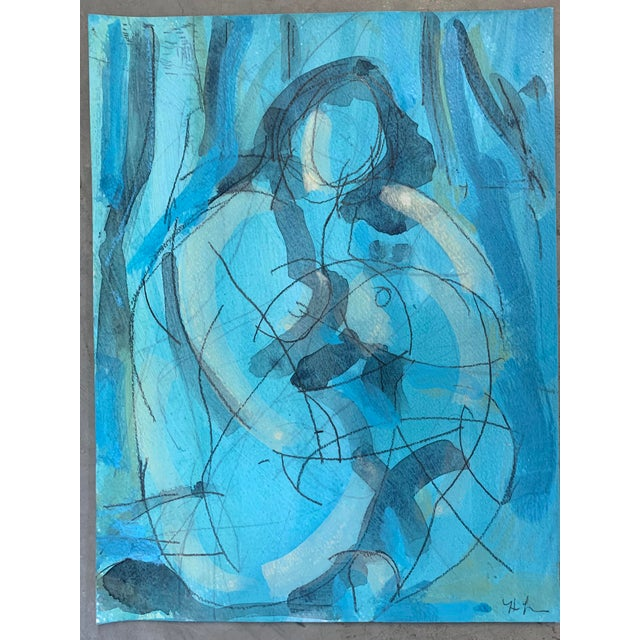 Figurative Figurative Drawing 'Blue Dream' Seated Nude For Sale - Image 3 of 4