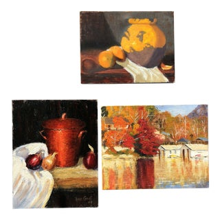 Set of Three Vintage Still Life Paintings For Sale
