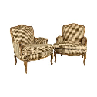French Louis XV Style Vintage Custom Quality Pair Bergere Chairs For Sale