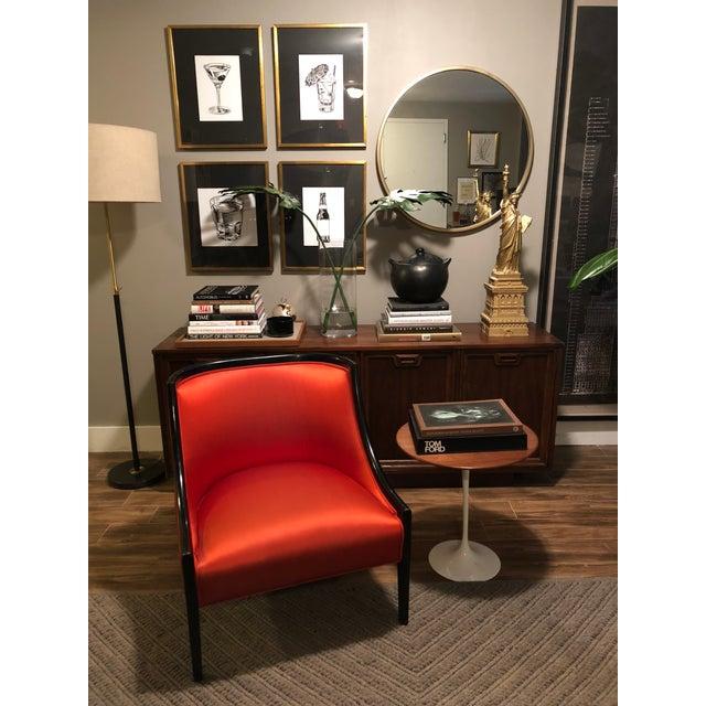 Hollywood Regency Hollywood Regency Burnt Orange Barrel Back Low Arm Slipper Chair For Sale - Image 3 of 8