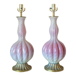 1950s Vintage Italian Pink Murano Glass Lamps - a Pair For Sale