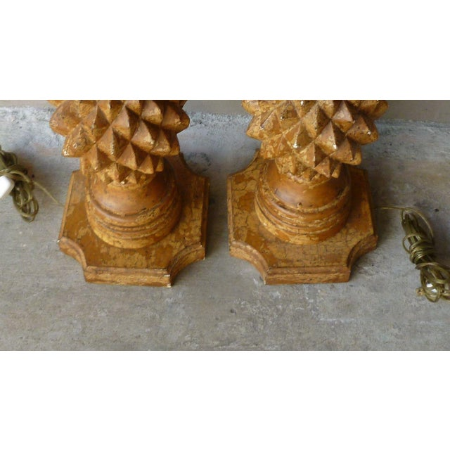 1970s Italian Haute Design Carved Wood Pineapple Lamps - a Pair For Sale In Miami - Image 6 of 9