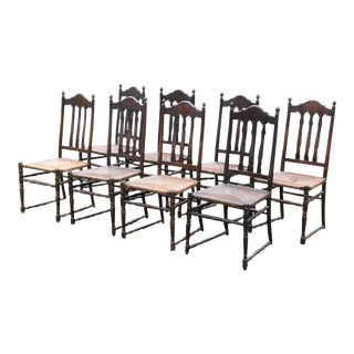 Antique Bannister-Back/Rush Seat Chairs - Set of 8 For Sale