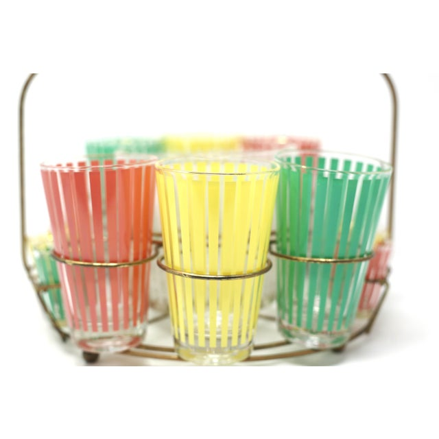 Vintage MCM Pastel Stripes Cocktail and Shot Glasses Barware With Ice Bucket and Brass Caddy - Set of 14 For Sale - Image 9 of 13
