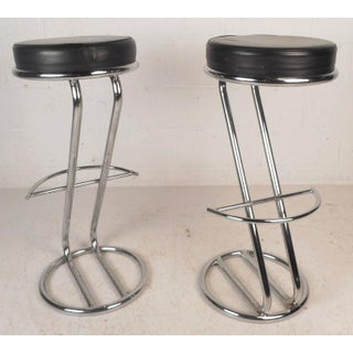 Mid-Century Modern Leather & Chrome Bar Stools - A Pair Preview