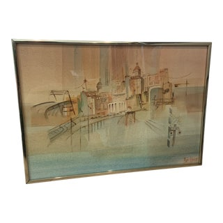 Mid 20th Century Modernist Abstract Cityscape Watercolor Painting, Framed For Sale