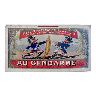 1900 French Advertising Carton, Gendarmes Herring