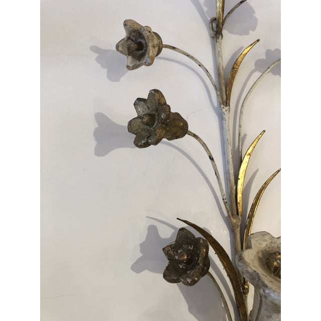 French Gold Gilt Iron Carved Wood French Tulip Motife Candle Sconces -Pair For Sale - Image 3 of 13