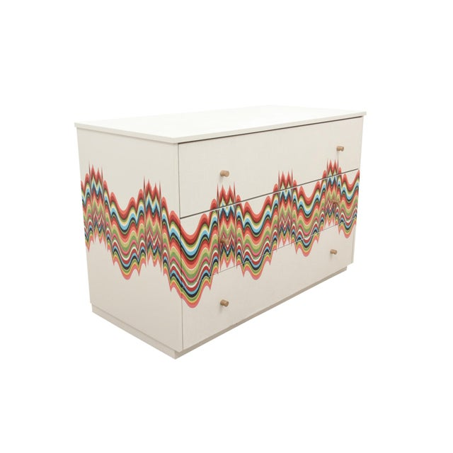 Boho Chic 1960s Boho Chic Dresser Wrapped in Technicolor Fabric For Sale - Image 3 of 8